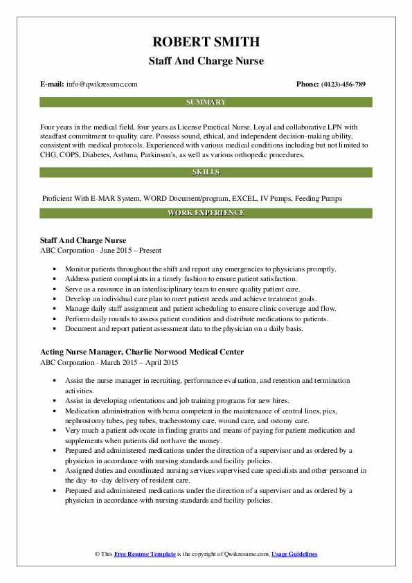 Staff And Charge Nurse Resume