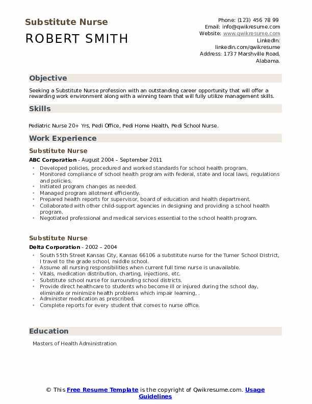 Substitute Nurse Resume .Docx (Word)