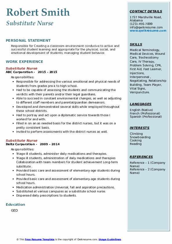 Substitute Nurse Resume4