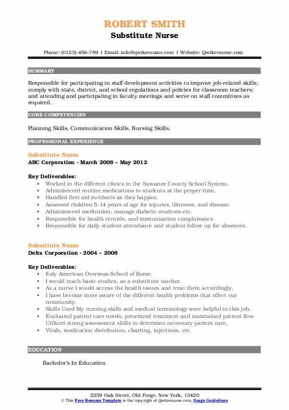 Substitute Nurse Resume7