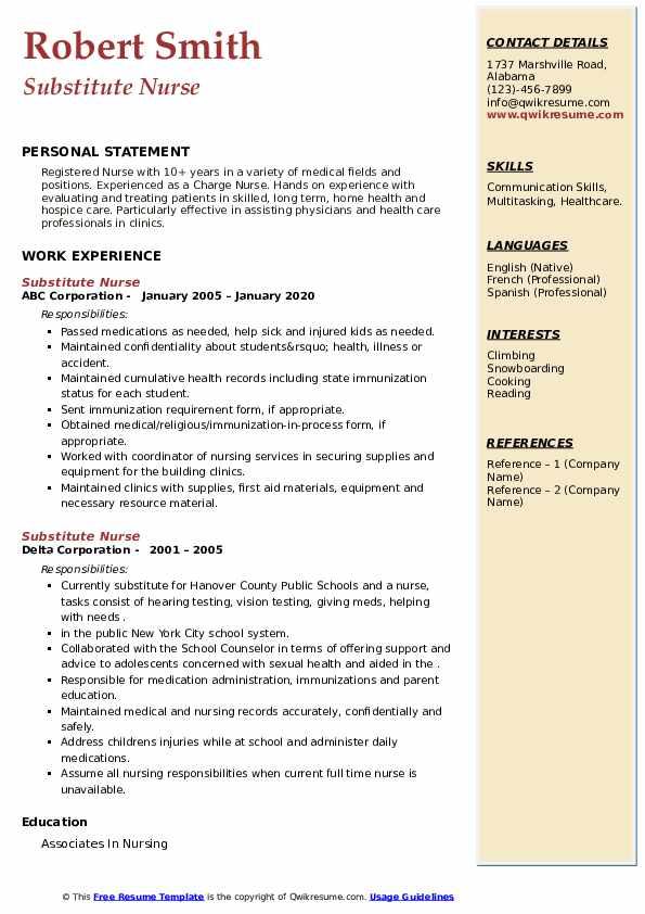 Substitute Nurse Resume8