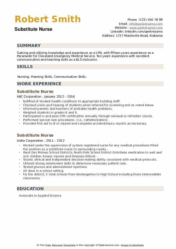 Substitute Nurse Resume9