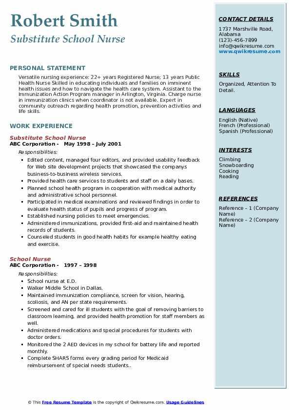 Substitute School Nurse Resume