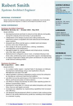 Systems Architect Engineer Resume