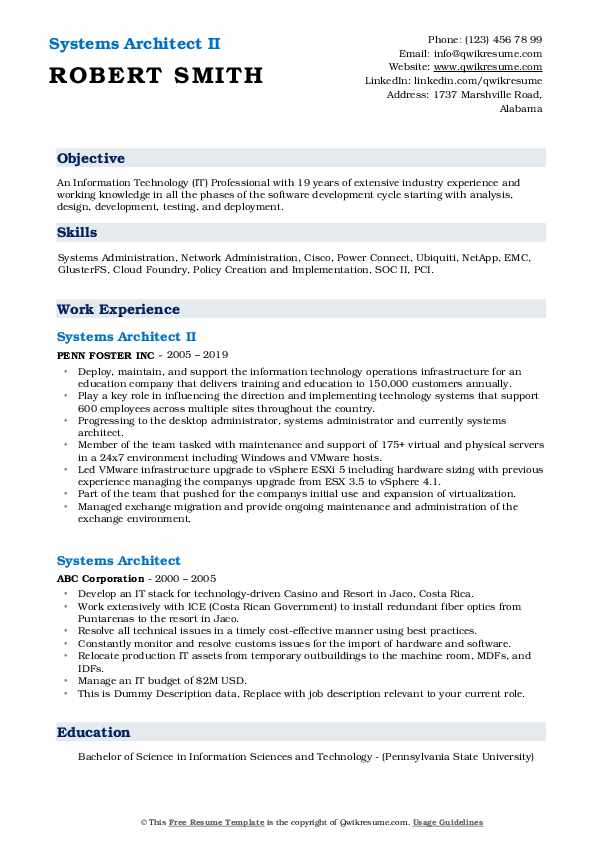 Systems Architect II Resume
