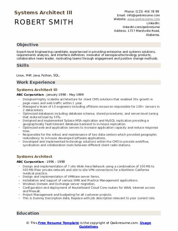 Systems Architect III Resume