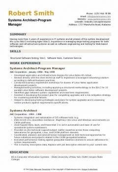 Systems Architect-Program Manager Resume