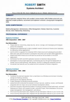 Systems Architect Resume