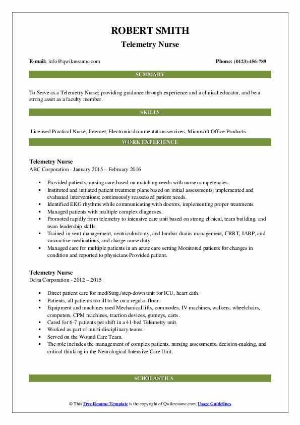Telemetry Nurse Resume2