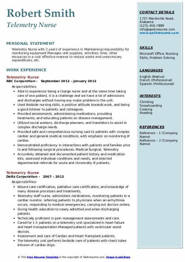 Telemetry Nurse Resume .Docx (Word)