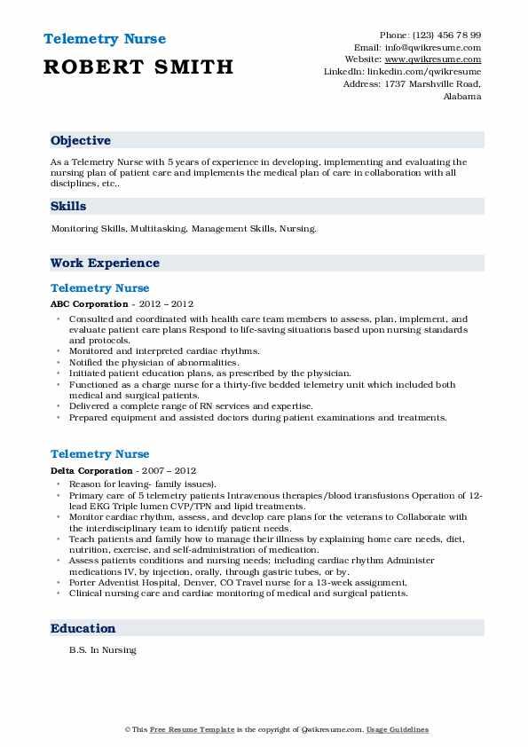 Telemetry Nurse Resume5