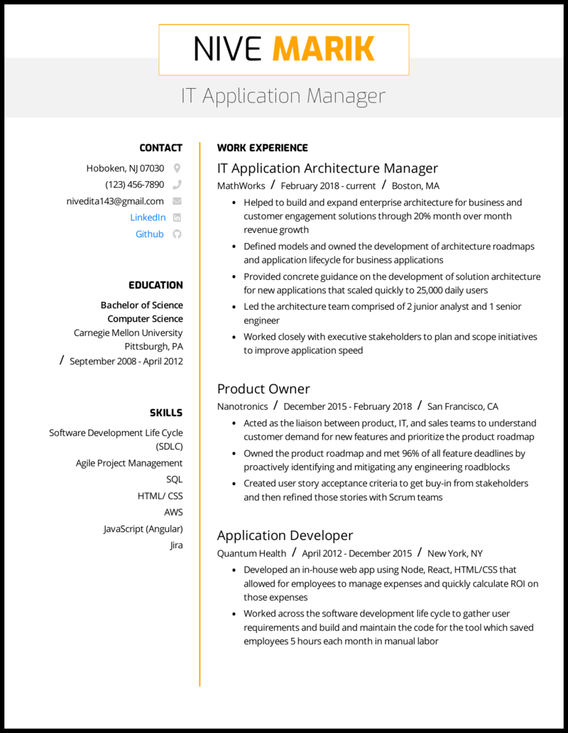 IT Application Manager Resume