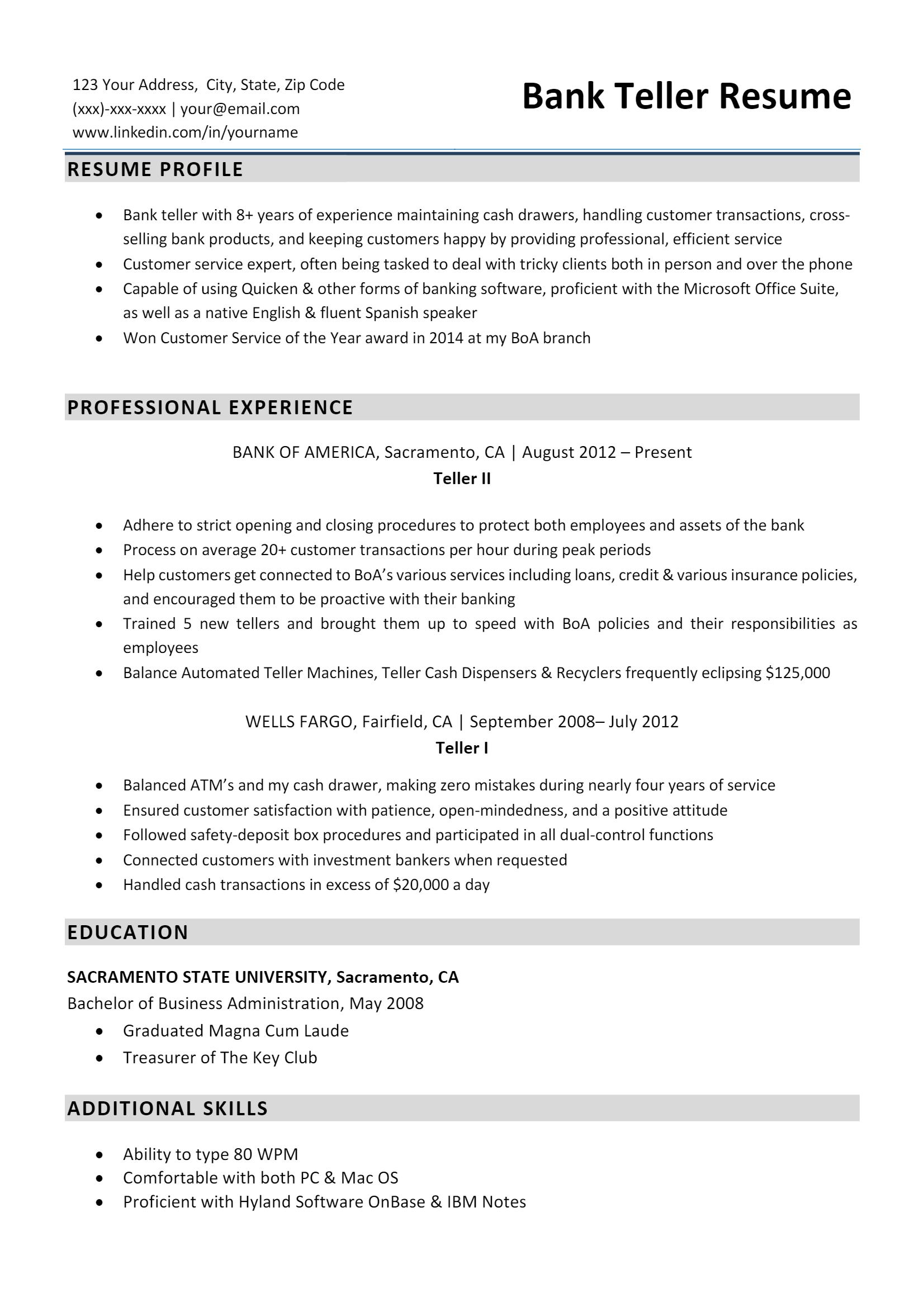 Bank Teller Resume > Bank Teller Resume .Docx (Word)