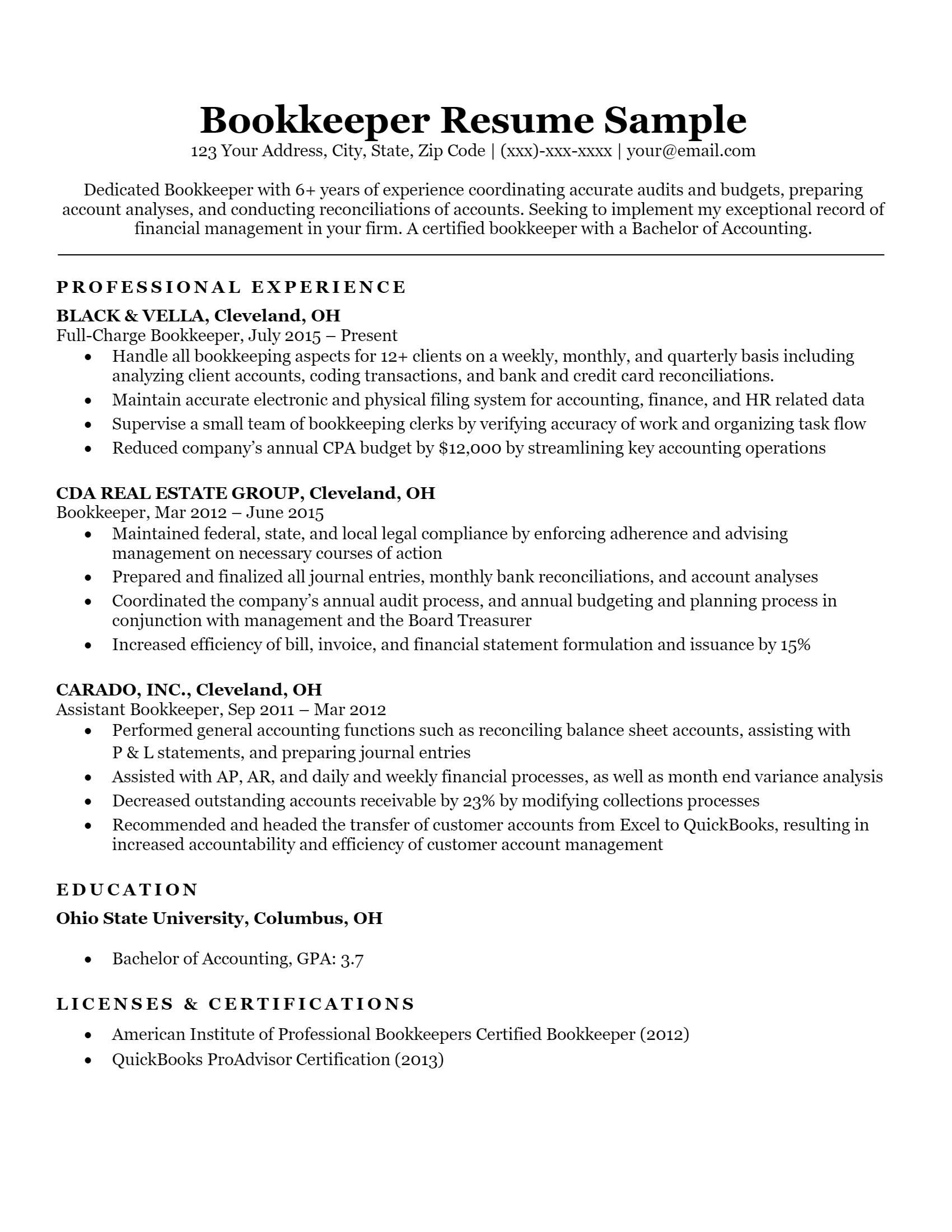 Bookkeeper Resume > Bookkeeper Resume .Docx (Word)