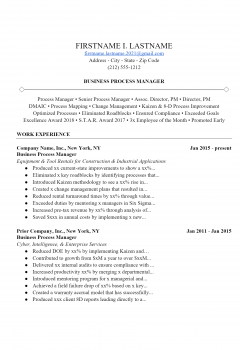 Business Manager Resume