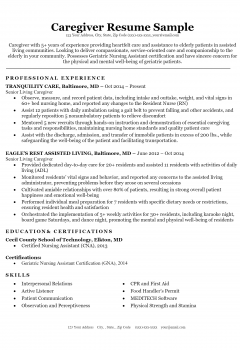 Caregiver Resume .Docx (Word)