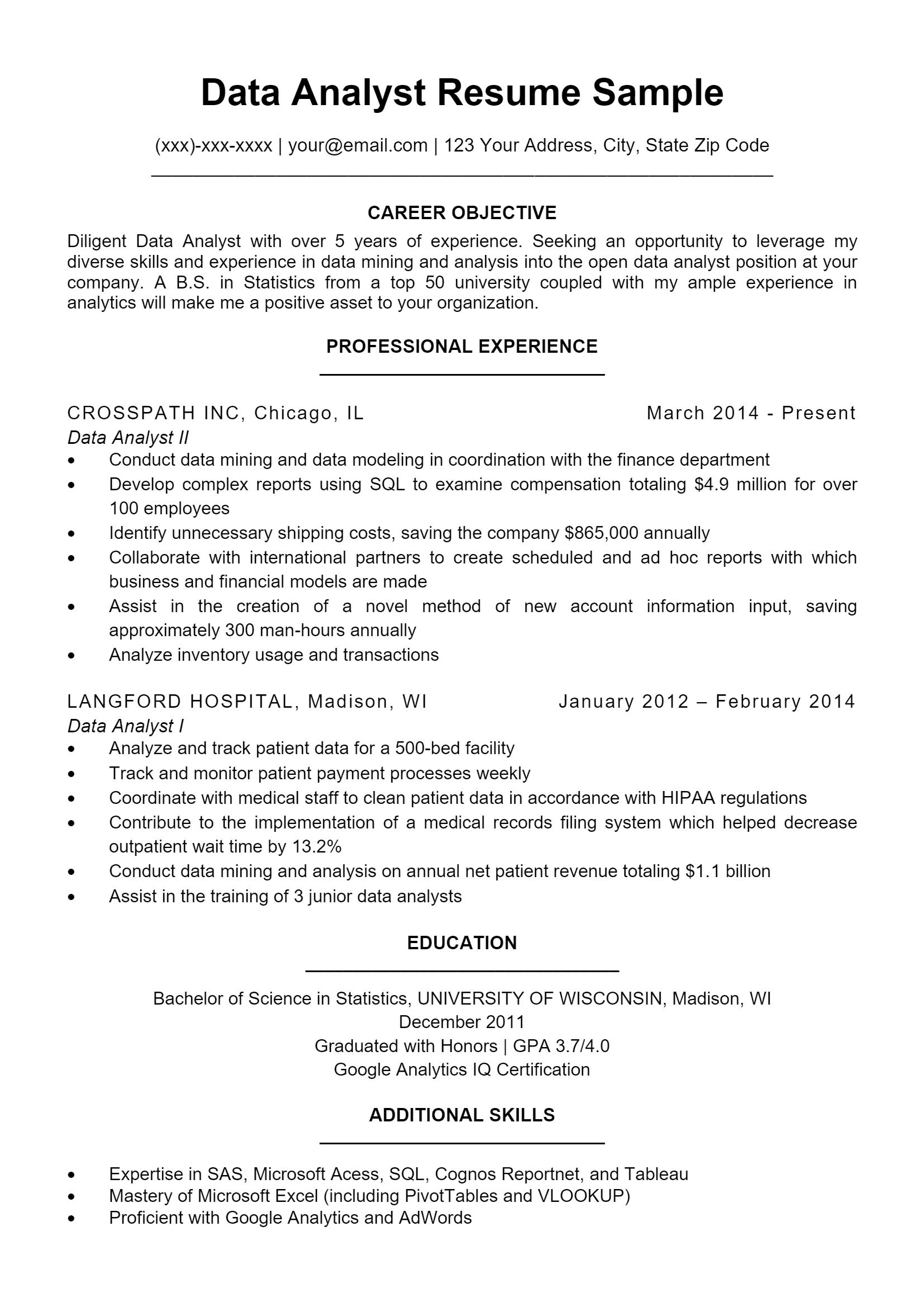 Data Analyst Resume .Docx (Word)