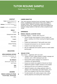 Economics Tutor Resume .Docx (Word)