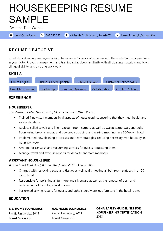Housekeeping Resume