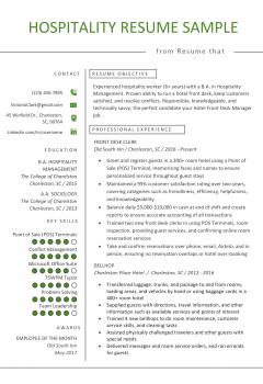 Hotel Front Desk Resume .Docx (Word)