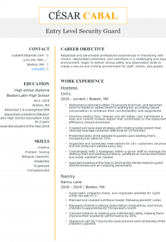 Entry-level Security Guard Resume