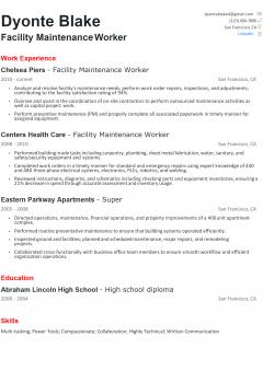 Facility Maintenance Resume