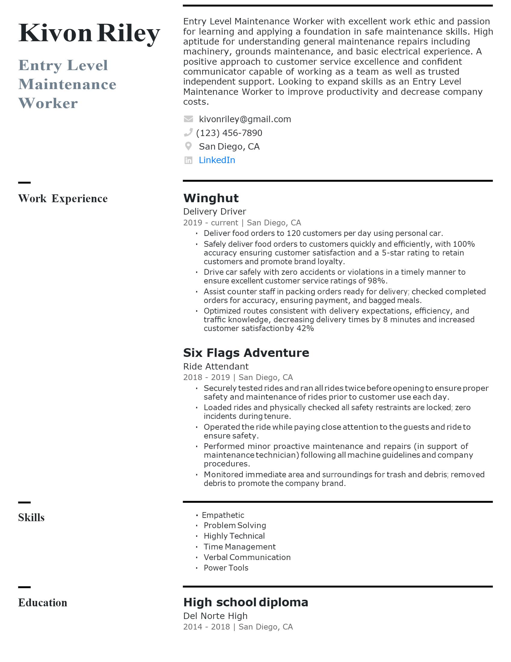 Entry-level Maintenance Resume