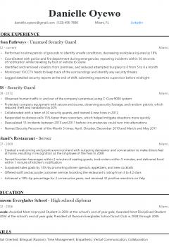 Unarmed Security Guard Resume