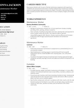 Maintenance Worker Resume