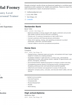 Entry-level Personal Trainer Resume
