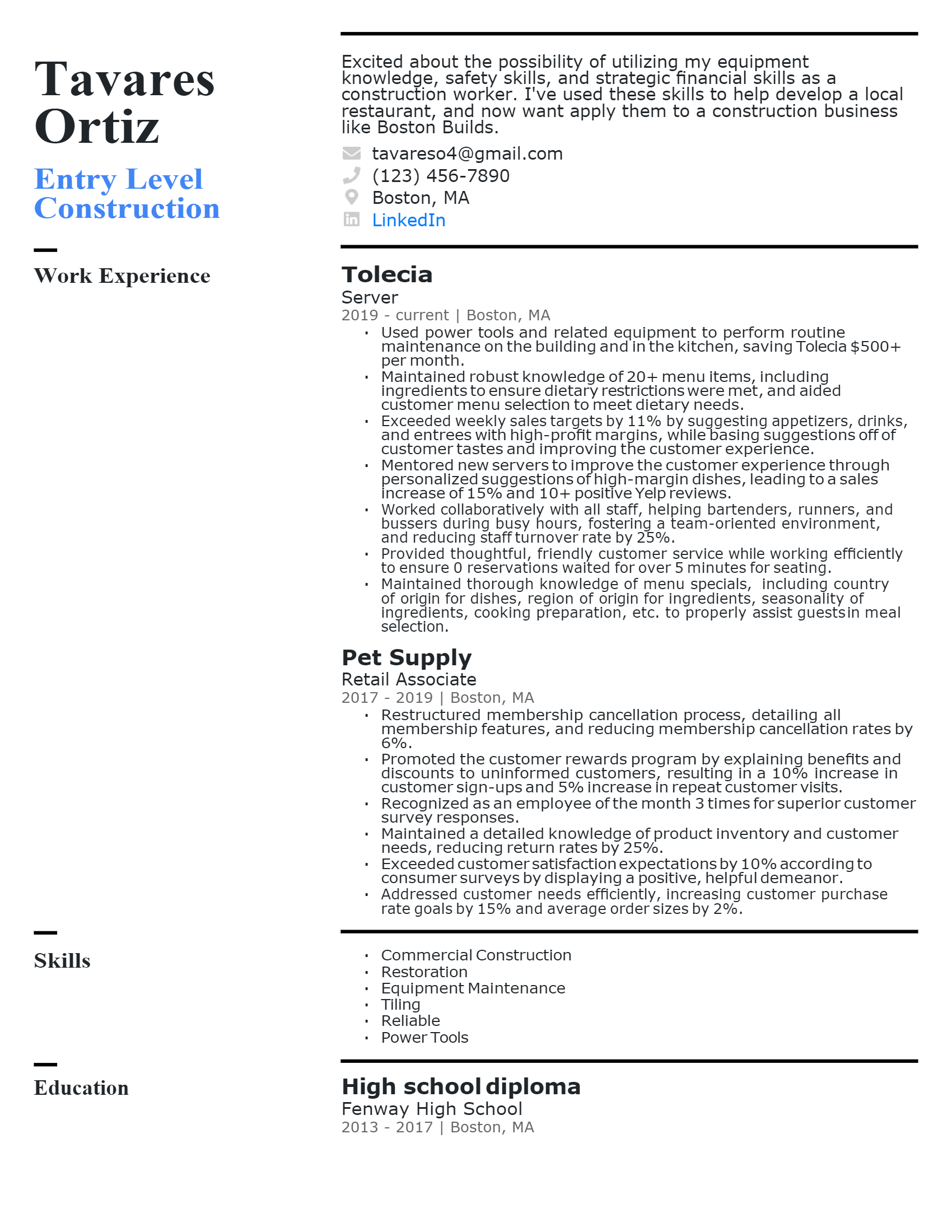 Entry level Construction Worker Resume