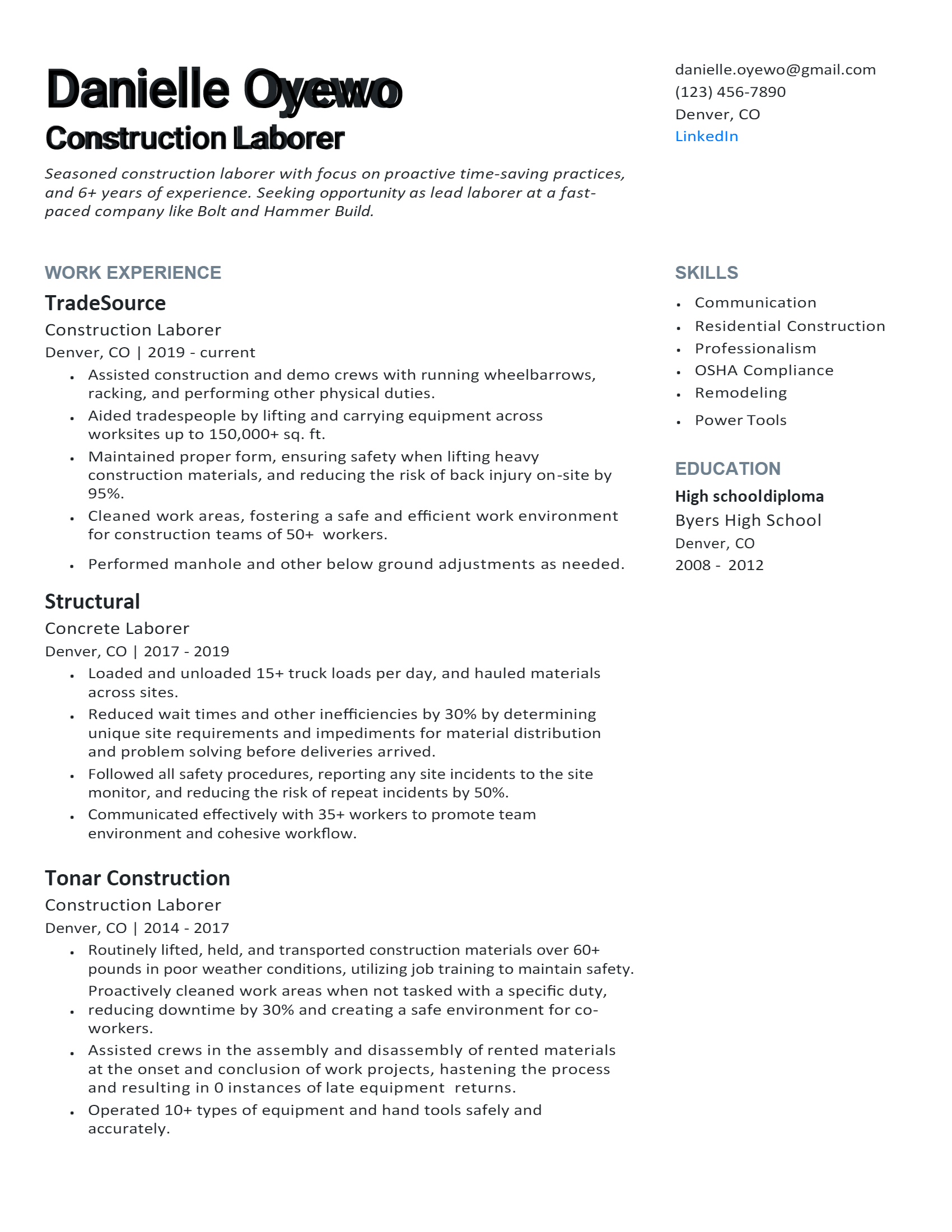 Construction Laborer Resume