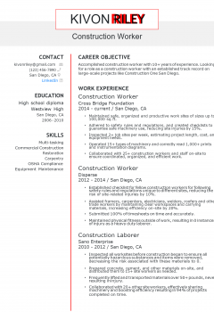 Construction Worker Resume .Docx (Word)