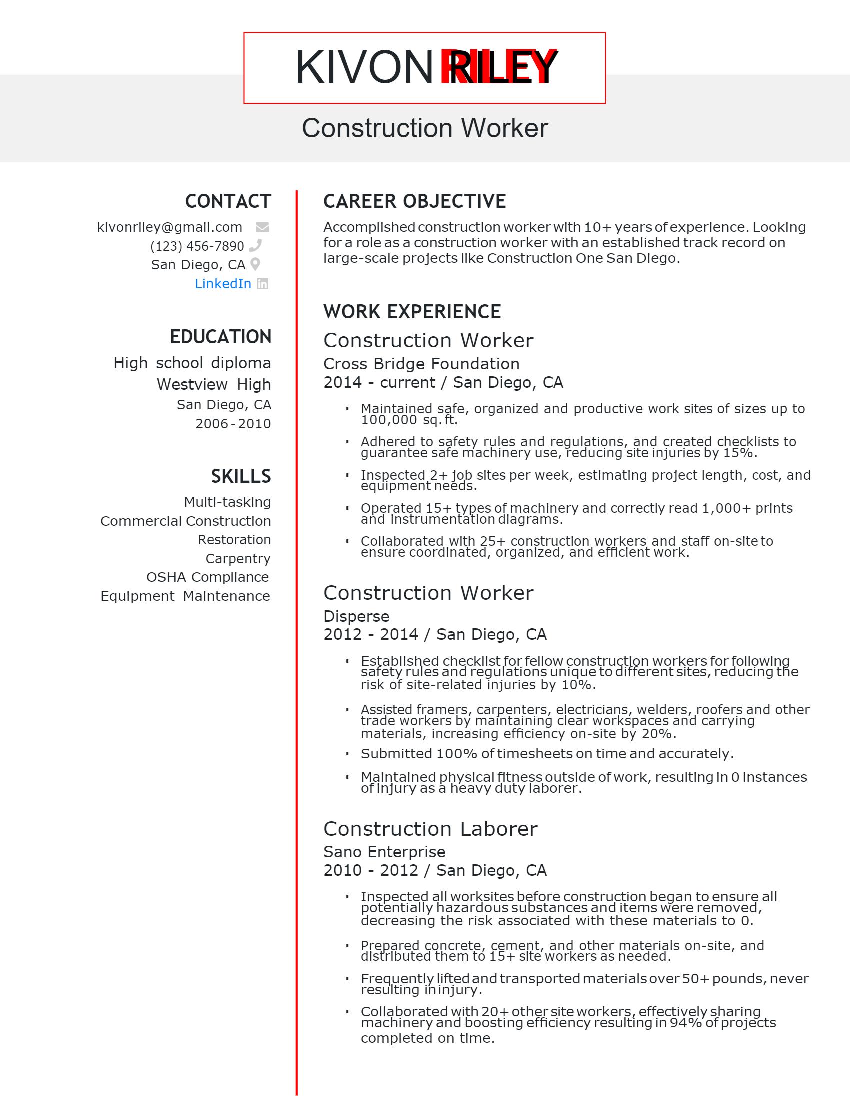 Construction Worker Resume