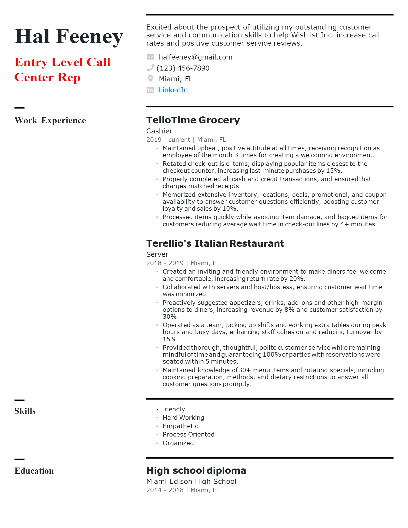Entry-level Call Center Representative Resume