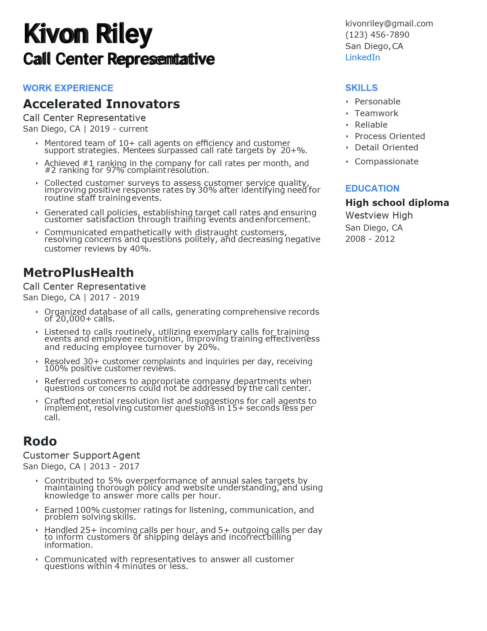 Call Center Representative Resume .Docx (Word)