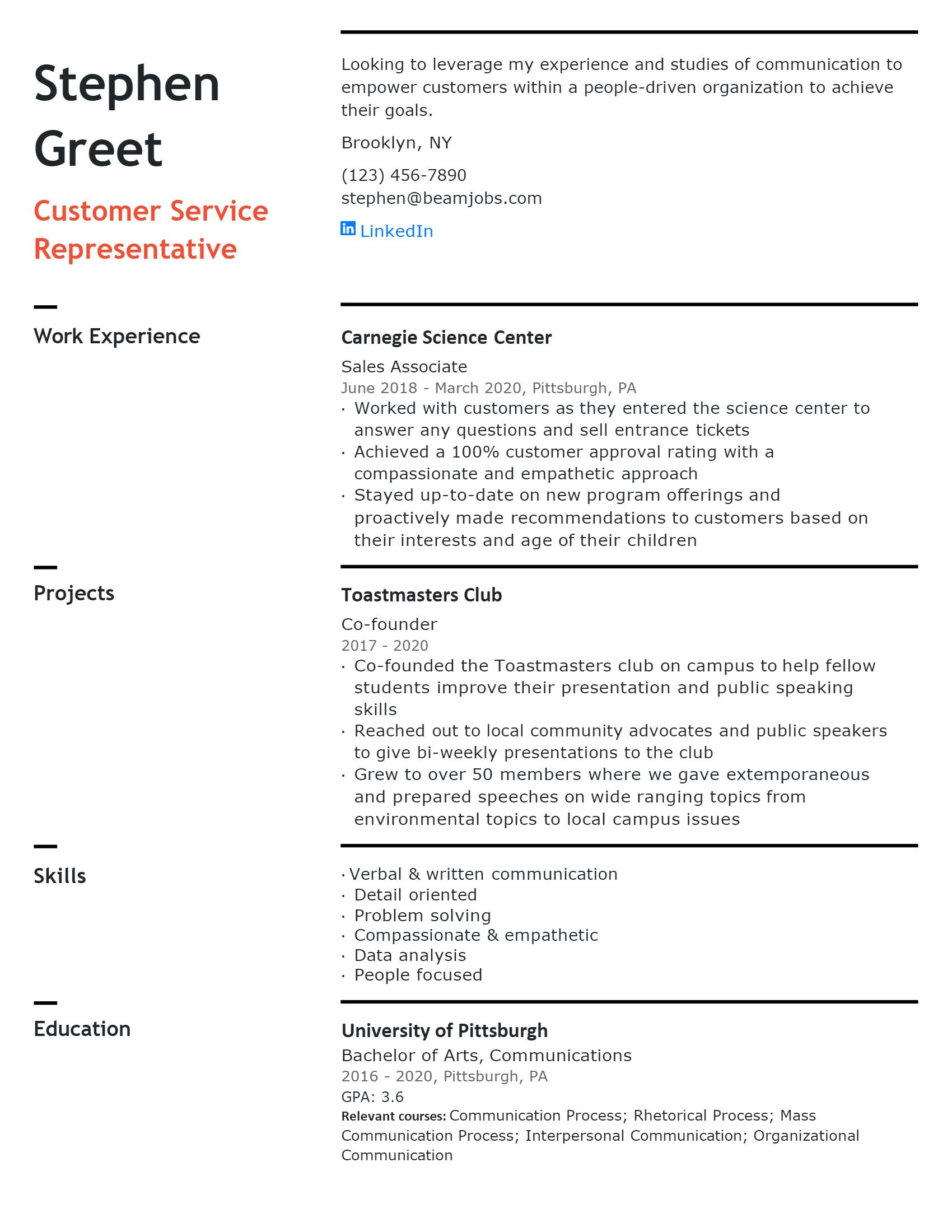 Entry-level Customer Service Resume