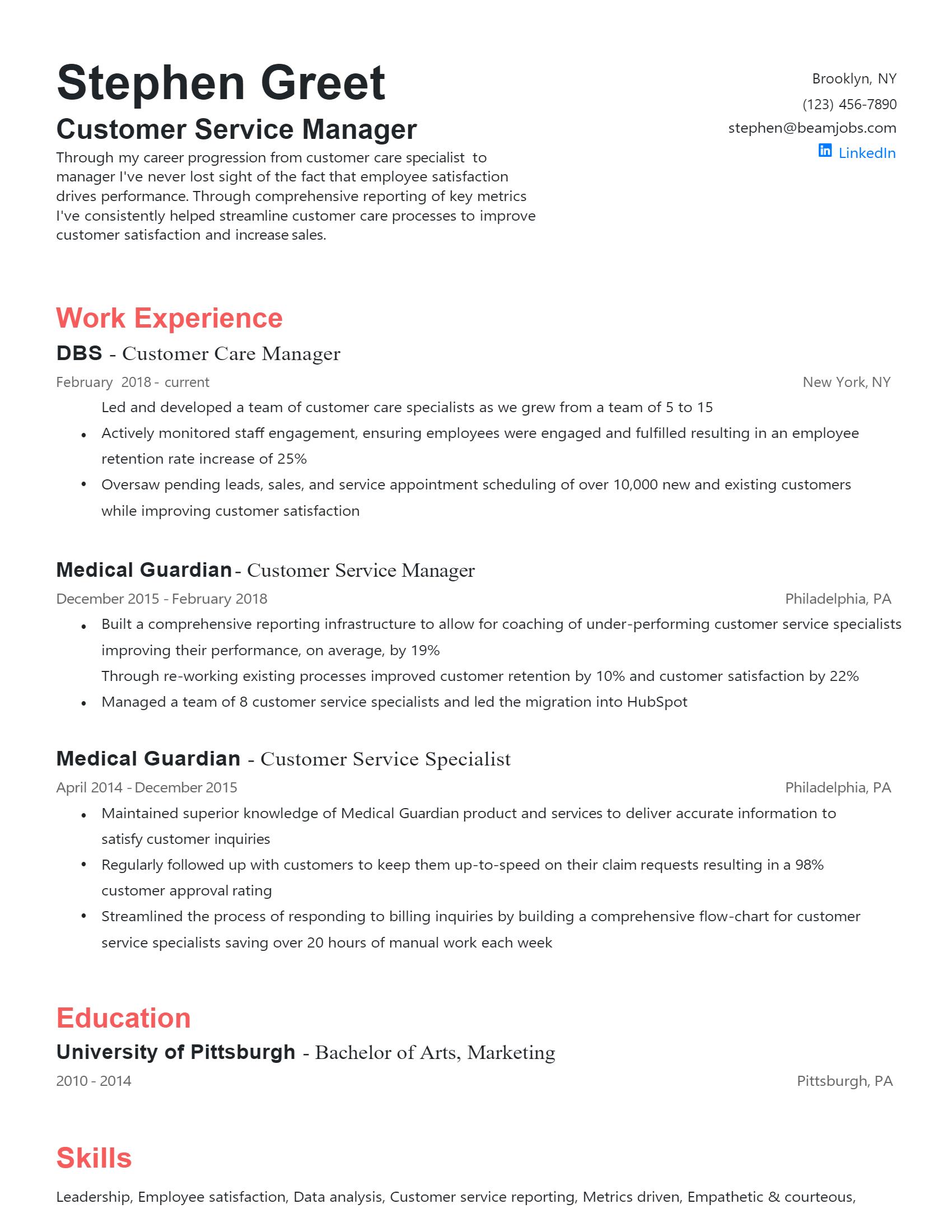 Customer Service Manager Resume
