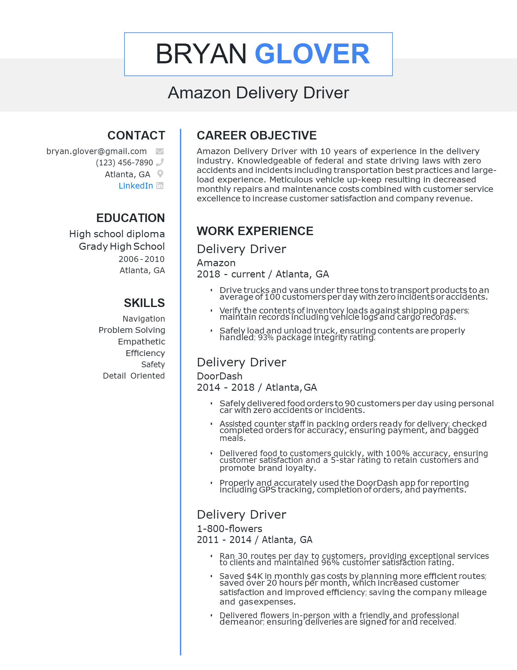 Amazon Delivery Driver Resume