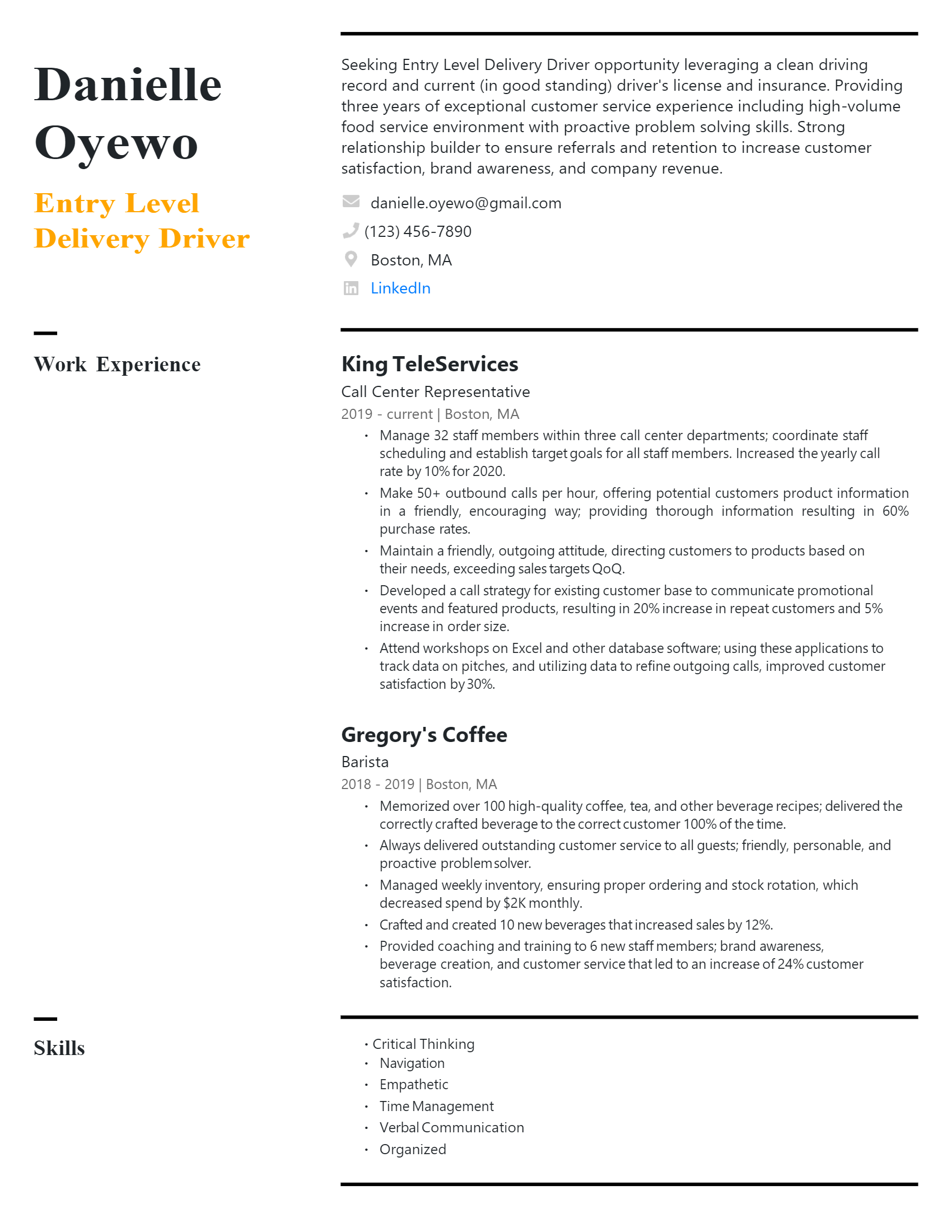 Entry-level Delivery Driver Resume