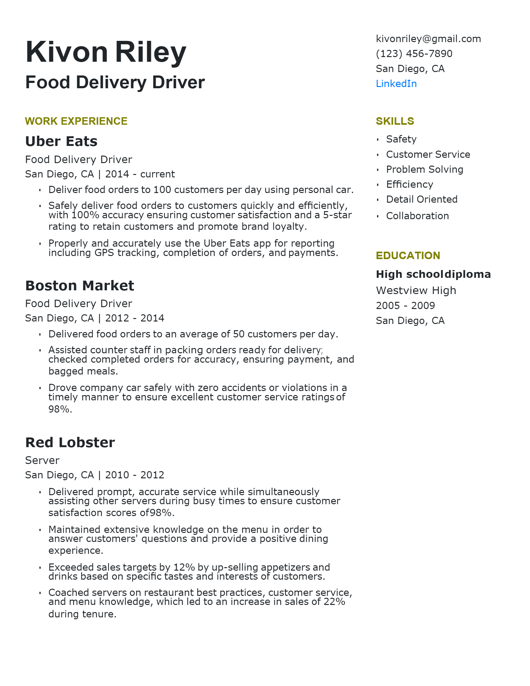 Food Delivery Driver Resume