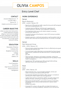 Entry Level Chef Resume
