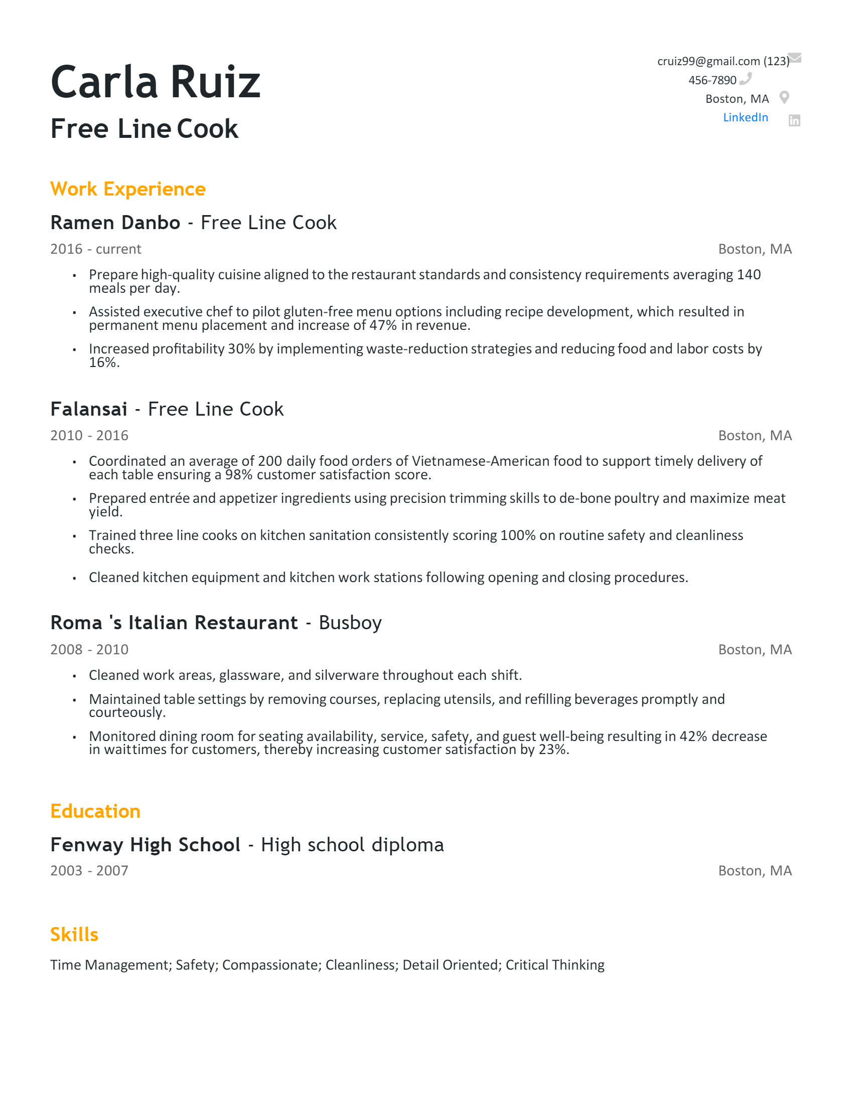 Free Line Cook Resume .Docx (Word)