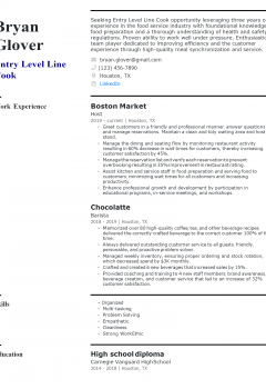 Entry-level Line Cook Resume