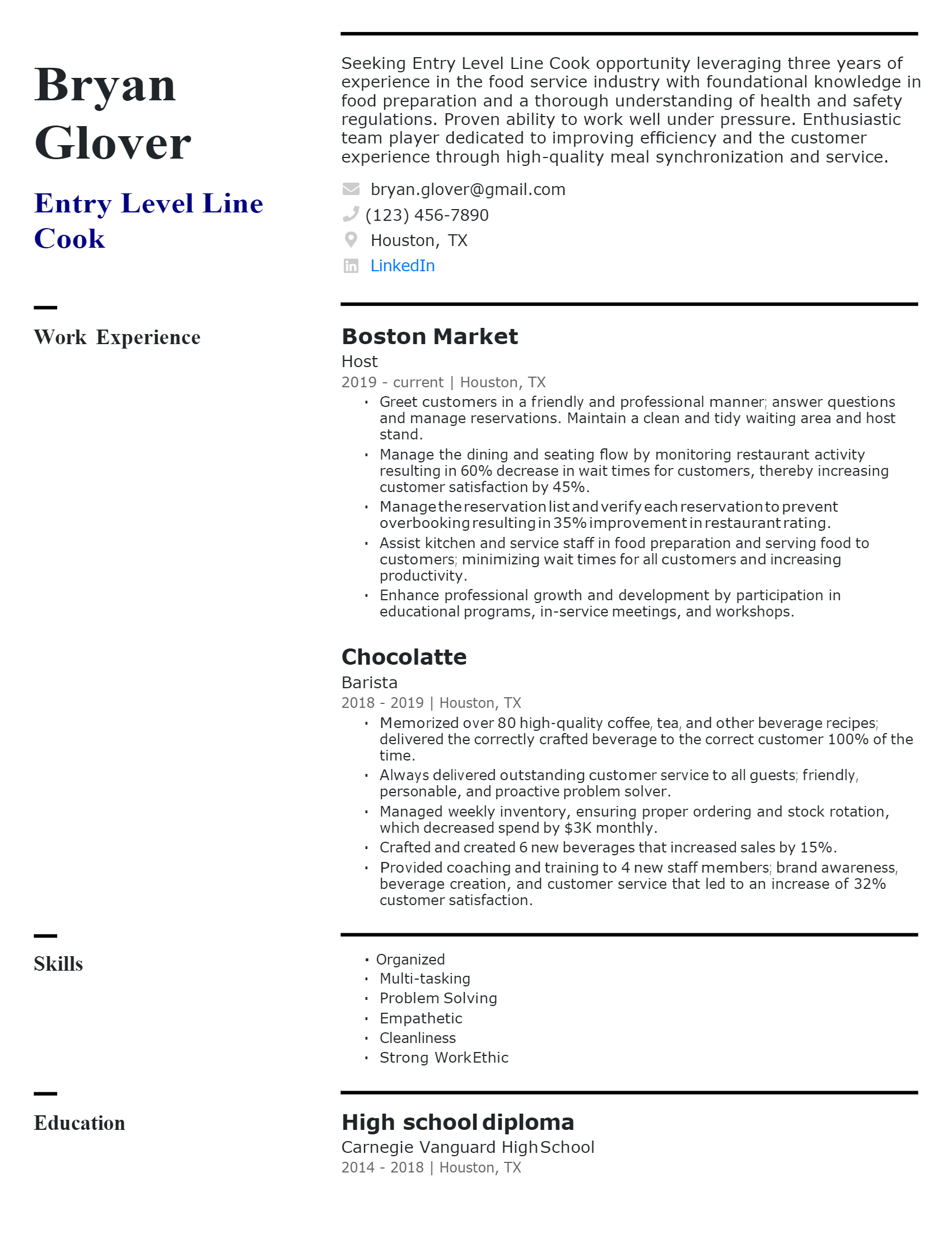 Entry-level Line Cook Resume .Docx (Word)
