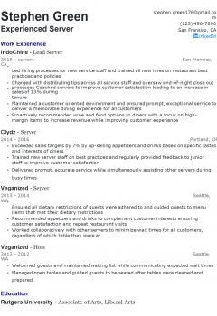 Experienced Server Resume