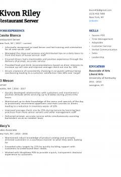 Experienced Restaurant Server Resume