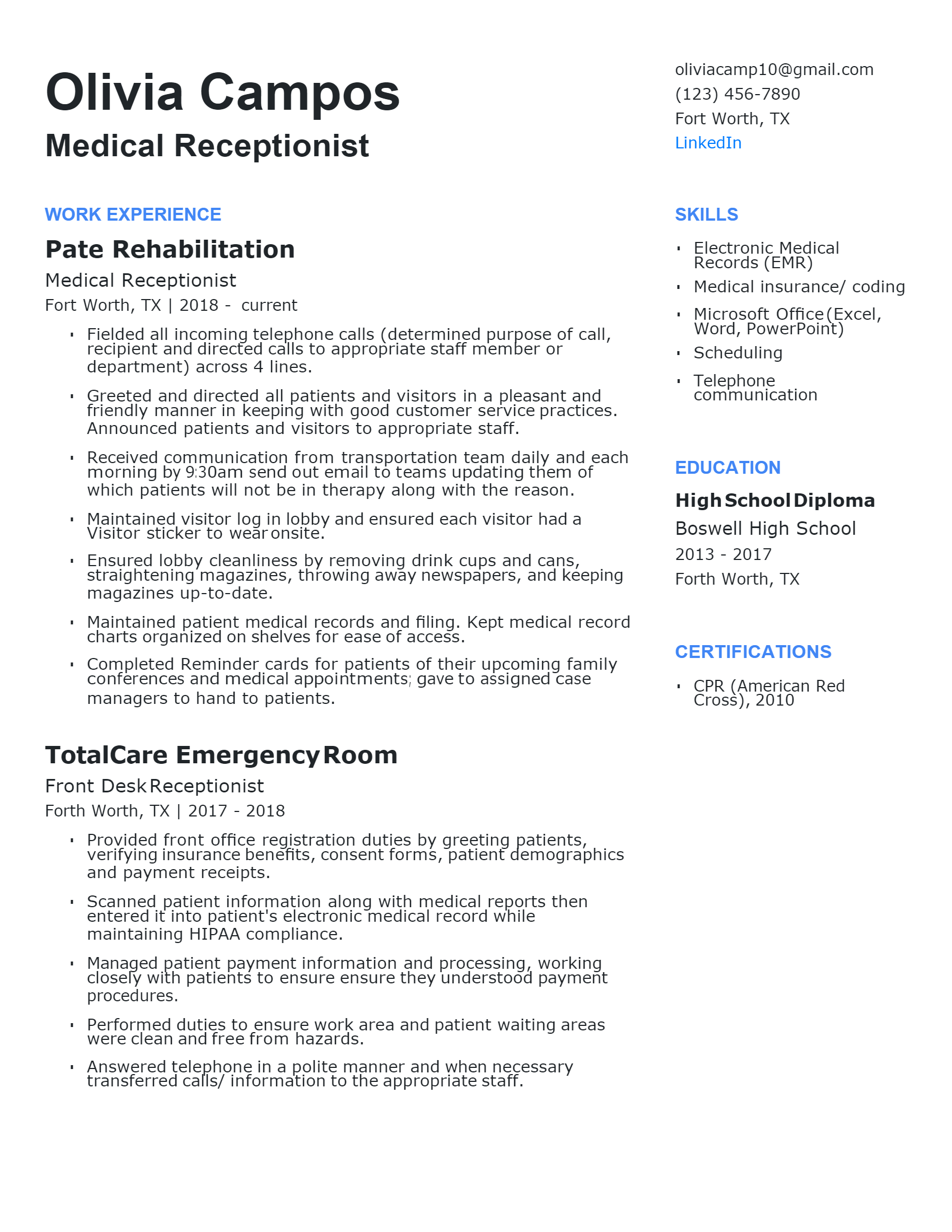 Experienced Medical Receptionist