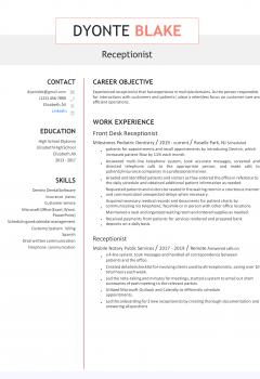 Receptionist Resume .Docx (Word)