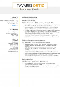 Restaurant Cashier Resume .Docx (Word)